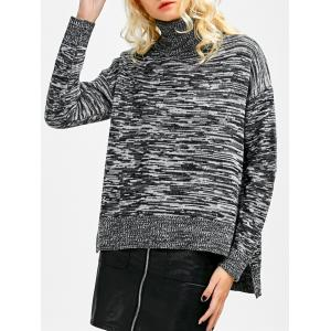 Marled Boxy Turtleneck Sweater