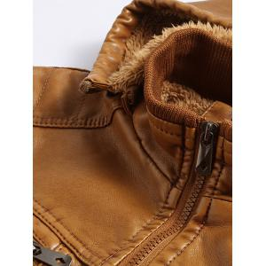 Detachable Hooded Flocking PU Leather Thicken Jacket -
