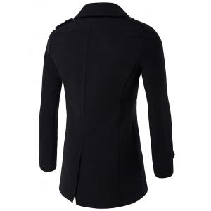 Plus Size Double Breasted Epaulet Woolen Blends Coat - BLACK L