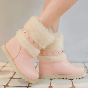 Rivet Faux Fur Snow Boots - PINK 39
