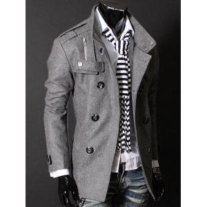 Epaulet Zipper Design Double Breasted Wool Blends Coat - DEEP GRAY L