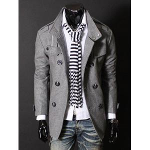 Epaulet Zipper Design Double Breasted Wool Blends Coat - Deep Gray - M