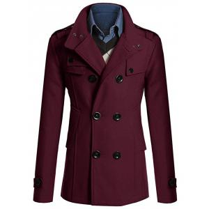 Stand Collar Zipper Design Double Breasted Woolen Blends Coat - Wine Red - L
