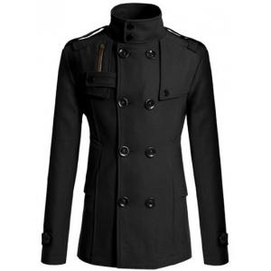 Stand Collar Zipper Design Double Breasted Woolen Blends Coat - Black - M