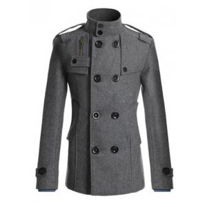 Stand Collar Zipper Design Double Breasted Woolen Blends Coat - Gray - M