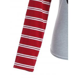 Raglan Sleeve Striped Letter Print Tee -