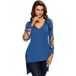Hollow Out Asymmetrical Side Slit Tee - BLUE L