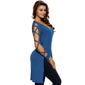 Hollow Out Asymmetrical Side Slit Tee - BLUE M