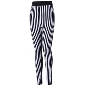 Striped Print Skinny Pants - WHITE AND BLACK ONE SIZE