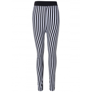 Striped Print Skinny Pants - White And Black - One Size