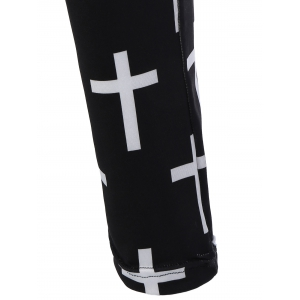 Cross Patterned Pants - WHITE AND BLACK ONE SIZE