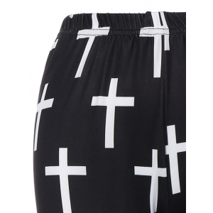 Cross Patterned Pants - WHITE/BLACK ONE SIZE