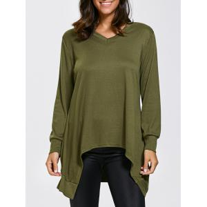 V Neck Long Sleeve High Low Asymmetric T-Shirt
