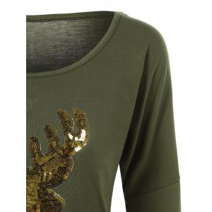 Deer Pattern Christmas Long Sleeve T-Shirt - ARMY GREEN L