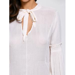Lace Up High Tow Openwork Blouse - WHITE 2XL