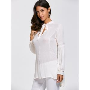 Lace Up High Tow Openwork Blouse -