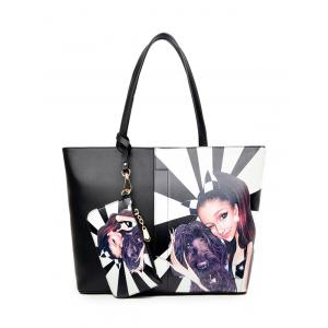 Painted Shoulder Bag With Wristlet - White And Black - 40