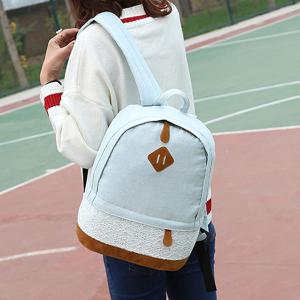Lace Insert Denim Backpack -