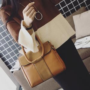 Suede Insert PU Leather Tote -