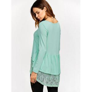 Lace Trim High Low T-Shirt - LIGHT GREEN M