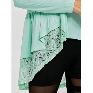 Lace Trim High Low T-Shirt - LIGHT GREEN L