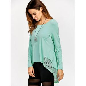 Lace Trim High Low T-Shirt - LIGHT GREEN XL