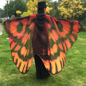 Butterfly Wing Cape Scarf - Orange Red - Xl