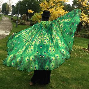 Peacock Feather Wing Cape Scarf - GREEN