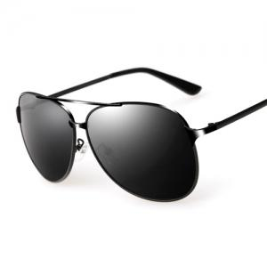 Anti UV Cross Bar Metal Pilot Sunglasses -