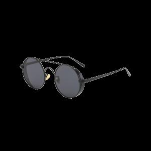 Vintage Crossbar Round Sunglasses - Black
