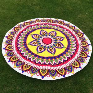 Flower and Leaf Print Round Beach Throw - Yellow - One Size