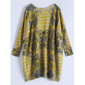 Plus Size Batwing Sleeve Patterned Sweater - Gris Clair TAILLE MOYENNE