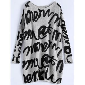 Ribbed Graphic Grdffiti Plus Size Sweater - Light Gray - One Size