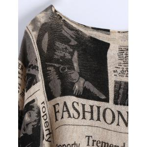 Plus Size Ribbed Newspaper Pattern Sweater -