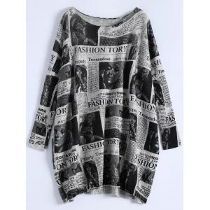 Plus Size Ribbed Newspaper Pattern Sweater - Light Gray - One Size