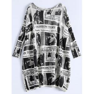Plus Size Ribbed Newspaper Pattern Sweater - White - One Size