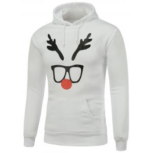 Hooded Long Sleeve Christmas Deer Horn Print Hoodie