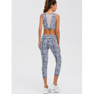 Leopard Print Mesh Insert Athletic Suit - LEOPARD XL