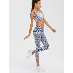 Leopard Imprimer Mesh Insert Athletic Suit -