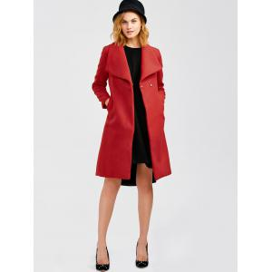 Wool Blend Long A Line Wrap Coat With Belt - RED XL