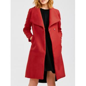 Wool Blend Long A Line Wrap Coat With Belt - Red - L