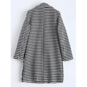 Lapel Houndstooth Double Breasted Coat -