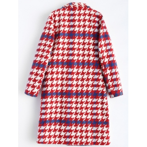 Lapel Houndstooth Double Breasted Long Coat -