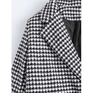 Double Breasted Lapel Houndstooth Coat -
