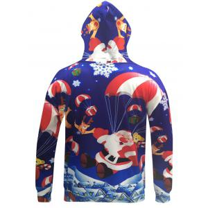 Santa Claus 3D Print Pocket Christmas Patterned Hoodies - BLUE 3XL