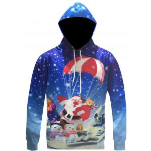 Santa Claus Print Drawstring Christmas Patterned Hoodies