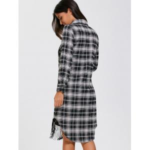 Plaid Fringed Button Up Dress - PLAID XL