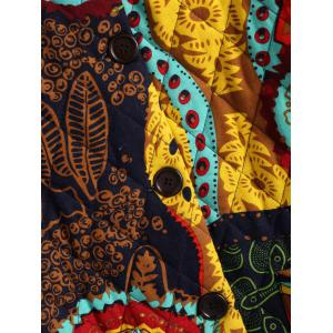 Ornate Print Hooded Quilted Coat -