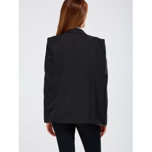 Open Front  Pocket Cape Blazer - BLACK 2XL
