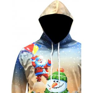 Christmas Santa Snowman Printed Pullover Hoodie - YELLOW 3XL